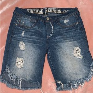 Lowrise distressed denim shorts